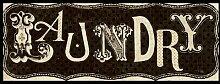 Bild mit Rahmen Pela Studio - Room Signs I - Laundry - Digitaldruck - Holz schwarz, 125 x 50cm - Premiumqualität - Grafik, Türschild, Nostalgie, Wäscherei, Hausarbeit, Haushalt, Waschen, sepia/grau - MADE IN GERMANY - ART-GALERIE-SHOPde