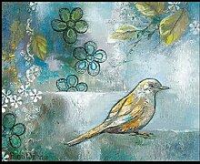 Bild mit Rahmen Rian Withaar - FLOWER BIRD I - Digitaldruck - Holz schwarz, 90 x 110.7cm - Premiumqualität - VÖGEL - MADE IN GERMANY - ART-GALERIE-SHOPde