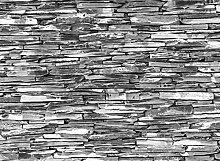 BILD TAPETE PAPERMOON, Steinwand Schwarz / Weiß