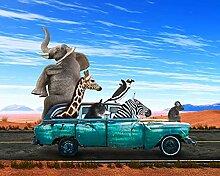 BILD TAPETE PAPERMOON, Tiere in Auto ,VLIES