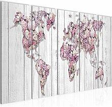 Bild Weltkarte Blumen Kunstdruck Vlies