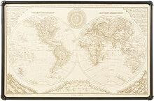 Bild Weltkarte mit schwarzem Metallrahmen 133x87