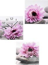 Bilder-Set Flowers mit Uhr (3-tlg.), lila