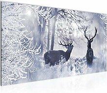 Bilder Winter Hirsch Wandbild Vlies - Leinwand