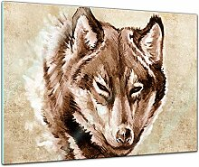 Bilderdepot24 Glasbild Wolf, Tattoo Art - 60 x 40