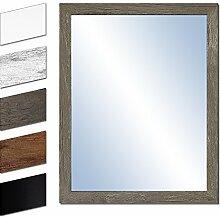Bilderdepot24 Wandspiegel Spiegel Badspiegel Holzrahmen komplett mit Echtglas - GRAU HOLZOPTIK - ca. 57x47 cm
