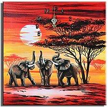 Bilderdepot24 Wanduhr - Elefanten M2-30x30cm D 08