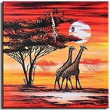 Bilderdepot24 Wanduhr - Giraffen M1-30x30cm D 05