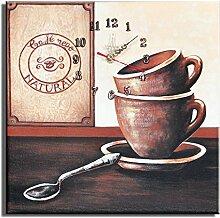 Bilderdepot24 Wanduhr - Kaffee Nego - 30x30cm D 04
