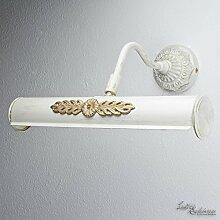 Bilderlampe Weiß Gold Shabby Chic Echt-Messing