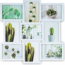 Bilderrahmen 51,5x51,5cm Weiß 9 Fotos 13x18