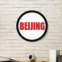 Bilderrahmen China City, rund, aus Holz, Rot, L