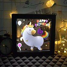 Bilderrahmen Einhorn Pferd 3D Illusion Lampe LED