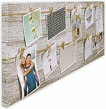 Bilderrahmen Fotorahmen Bilder Bilderhalter Fotoleine aus MDF für 12 Fotos mit Holz-Klammern zum Aufhängen inkl. Aufhängese