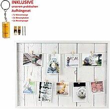 Bilderrahmen Fotorahmen Bilder Bilderhalter Fotoleine Memoboard mit 9 Holz-Klammern zum Aufhängen inkl. Aufhängeset (70 x 50 cm)