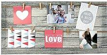 Bilderrahmen Fotorahmen Bilder Bilderhalter Fotoleine Memoboard für 10 Fotos mit Holz-Klammern zum Aufhängen inkl. Aufhängese