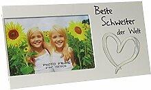 Bilderrahmen Fotorahmen Rahmen Holz Weiß Geschenk Geschenkidee Persönlich Beste Schwester