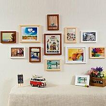 Bilderrahmen Hängender Wanduhr-Wanduhr-Fotowand-Fotorahmen Der Fotohandholz-Kombination Kreativer Modehintergrundwand ( Farbe : D )