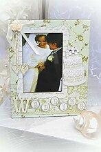 Bilderrahmen Hochzeit Vintage , creme-weiß 19 x