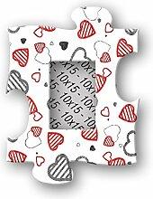 Bilderrahmen in Holz Wanduhr photopuzzle Hearts