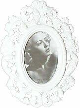 Bilderrahmen oval weiß 6 x 9 cm