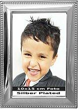 Bilderrahmen Perlrand für 10x15cm Foto Silber
