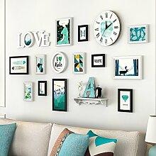 Bilderrahmen Set Wand Home Decor hölzerne Wanduhr Frame Wand mit Uhren kreative Wand Kombination Sofa Wand Wand