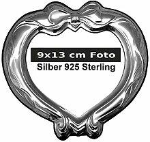 Bilderrahmen Silber 925 Sterling Herz 9x13 cm Foto