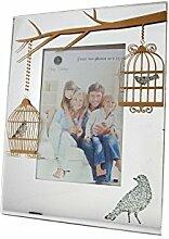 Bilderrahmen Spiegel mit Motive Käfig für Vögel 10x 15cm