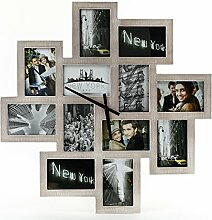 Bilderrahmen Wanduhr 65x65cm Holz Braun Fotouhr 12 Fotos Shabby Chic Vintage