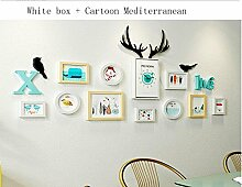 Bilderrahmen Wanduhr Kombination Nordic Dekorative Malerei Kombination Wohnzimmer Schlafzimmer Malerei Cartoon Mediterranen Stil Moderne Minimalistische Grüne Wand Dekoration Malerei Wandmalerei Kreative Kombination Wandfarbe Optional,A