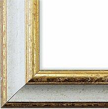Bilderrahmen Weiß Gold 30 x 60 cm 30x60 - Antik,