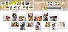 Bilderrahmen XXL für 14 Fotos - 117 x 35 cm in