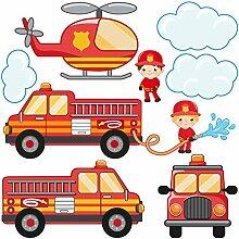 Bilderwelten Fenstersticker Feuerwehr-Set mit
