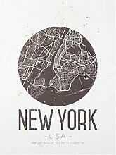 Bilderwelten Glasbild - Stadtplan New York - Retro