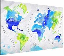 Bilderwelten Magnettafel - Weltkarte Aquarell Blau