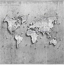 Bilderwelten Vliestapete - Beton Weltkarte -