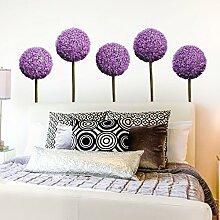Bilderwelten Wandtattoo Allium Kugel-Blüten 5er Set Wandtattoo Wandsticker Blume Pflanze, Größe: 24cm x 27cm