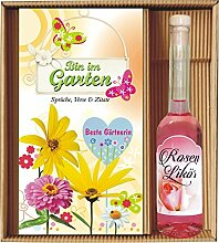 Bin im Garten Beste Gärtnerin mit Rosenlikör im