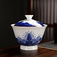 Bin Zhang Tee-Set aus Porzellan, Blau und Weiß,