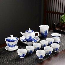 Bin Zhang Tee-Set aus Porzellan, Blau und Weiß