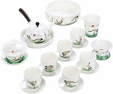 Bin Zhang Tee-Set aus weißem Jade-Porzellan mit