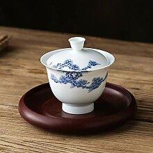 Bin Zhang Teeschale aus Porzellan, handbemalt,