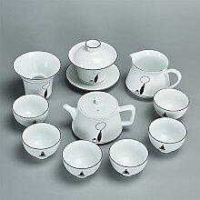 Bin Zhang Teeservice aus weißem Porzellan, matt