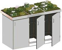 Binto Mülltonnenbox 3er-Box HPL-Grau Pflanzschale