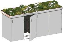 Binto Mülltonnenbox 4er-Box HPL-Grau Pflanzschale