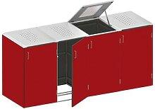 Binto Mülltonnenbox 4er-Box HPL-Rot
