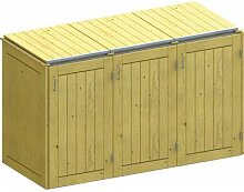 Binto Mülltonnenbox für 3 Behälter, Nadelholz