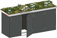 BINTO Mülltonnenbox HPL schiefer System 4P - für