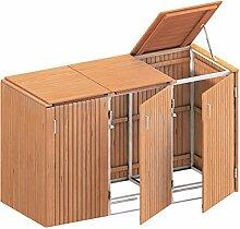 BINTO Mülltonnenbox Premium Hartholz System 3K -